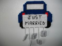 This is a perfect gift for someone that has just got married or a bridal shower or wedding gift.  Just married sign and 5 cans are all stitched and then attached. Cans are attached with white floss and details on car are also outlined in black floss  CHOOSE WHAT COLOR CAR YOU WOULD LIKE. BUT..................  PLEASE REMEMBER YARN COLORS VARY AND BASIC COLORS SHOULD BE CHOOSEN    PRICE IS FOR 1, IF YOU NEED A LARGER QUANTITY, PLEASE CONVO ME AND I WILL GIVE YOU A RESERVED LISTING WITH A…