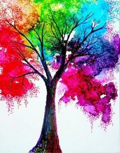 Colorful tree! Use crayons and hair drier to melt the crayons and make them splatter to make the leaves! Use one crayon at a time and hold them over the canvas. by Rana Besler Duymuş