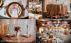 rose gold reception details   rolling hill farm   charlotte nc wedding photographer