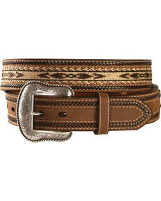 A belt that has it all by Nocona. Horsehair inlay at center features an Aztec design. Leather lacing adorns edges of belt. Wide Leather Belt, Leather Belts, Leather Tooling, Leather And Lace, Leather Men, Men's Belts, Tooled Leather, Western Belt Buckles, Western Belts