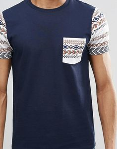 Image 3 ofASOS Muscle T-Shirt 2 Pack With Plain And Printed Pocket/Sleeve SAVE 15%