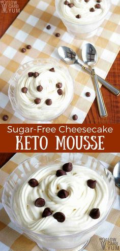 A light and airy sugar free cheesecake keto mousse recipe that's quick and easy to prepare. This low carb dessert is great with chocolate or fruit sauce. Keto Recipes, Cookie Recipes, Sugar Free Cheesecake, Fruit Sauce, Keto Cookies, Low Carb Desserts, Mousse, Cereal, Chocolate