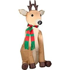 Airblown Christmas Decoration Inflatable Reindeer Outdoor Yard Lawn Decor for sale online Christmas Yard Decorations, Reindeer Decorations, Holiday Ornaments, Holiday Decor, Outdoor Decorations, Outdoor Reindeer, Santa And Reindeer, Reindeer Christmas, Christmas Stuff