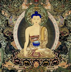 Shakyamuni Buddha...His left hand is in the dhyana mudra, and supports a blue alms-bowl that is filled with the nectar of immortal wisdom. His right hand is in bhumisparsa mudra or 'earth-touching gesture', to summon the Earth to bear witness to his enlightenment after he overcame the attack of Mara (delusion) under the bodhi tree.