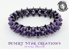 2 Hole Pyramids, 2 Hole Triangles, CZ Bricks and CZ Tiles. Spiked Tower Bangle by Laura Graham - DesertStarCreations.com
