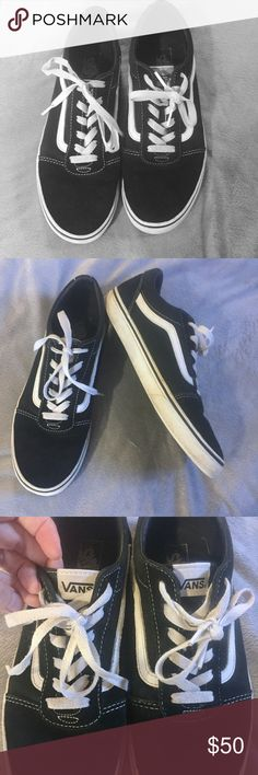 """Sz 7 Old Skool Vans Black Leather and Canvas Shoes In VGUC!! Light wear to toes as shown. Light dirt stains on white edges of sole like pictured. Insolenis approximately 10"""". Labeled youth 7 but a ladies 7 is a foot around 9.25"""" long, so I think they are also a ladies 7. Also fits boys size 5.5 according to website. Vans Shoes Sneakers"""