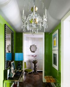 Glossy green walls. Todd Romano's jewel box apartment.