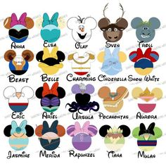CHOOSE YOUR MOUSE HEAD CHARACTERS Disney Family Vacation Digital Clip Art 9 18 Characters