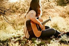 Playing guitar in the spring