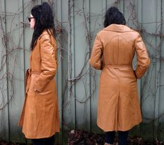 vintage Leather Trench Camel belted Long coat by TheVintageDomain