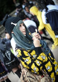 casual harajuku - bart simpson sweater from here: http://www.sheinside.com/Yellow-Long-Sleeve-Cartoon-Print-Loose-Sweater-p-104783-cat-1734.html