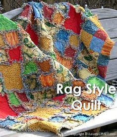 For a quick and easy quilt project, try a rag style quilt. In this technique, each square of the quilt is assembled and quilted as you go.