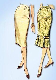 1950s Vintage Misses Pencil Skirt Uncut 1959 McCall's VTG Sewing Pattern 28 W