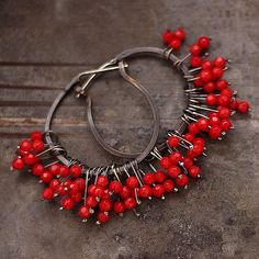 hoop earrings -  sterling silver  - red coral