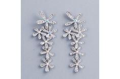 Civetta Spark clear crystal earring - Rhodium-plated with Swarovski elements by Civetta Spark Crystal Earrings, Clear Crystal, Belly Button Rings, Swarovski, Glitter, Brooch, Crystals, Handmade, Jewelry