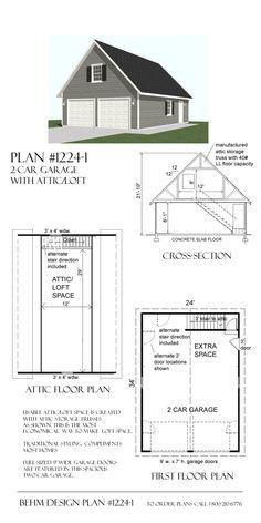 Garage With Loft Plan 1224-1 by Behm Design