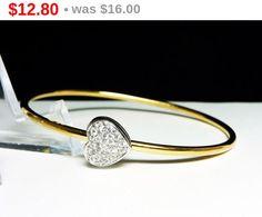 Monet Vintage Heart Bangle Bracelet  Clear by thejewelseeker