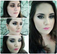 Antes e depois de uma maquiagem feita pelo Beauty Team da NYX Center 3 numa consultoria