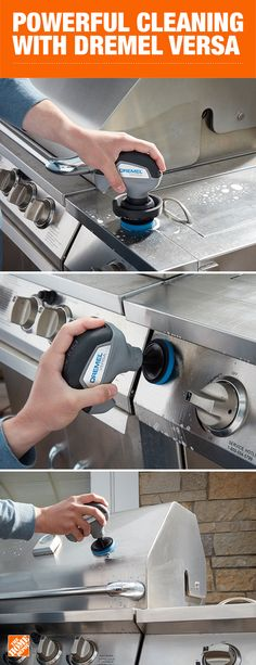 With seven times the speed of other cleaning tools, the new Dremel Versa is the most powerful cleaner on the market. It's perfect for those hard-to-clean outdoor messes. Instead of scrubbing by hand, let the Versa do the work for you. Click to shop Dremel Versa at The Home Depot.