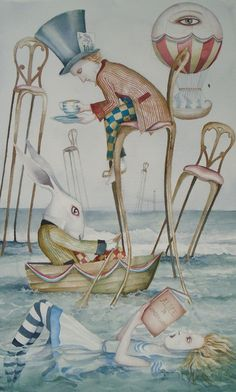 Dominic Murphy Art Original Painting Alice in Wonderland Surreal A Mad Sea Party Poster Wall Art, Alice In Wonderland Illustrations, Original Paintings, Painting, Gothic Fantasy Art, Whimsical Art, Illustration Art, Art, Fairy Tales