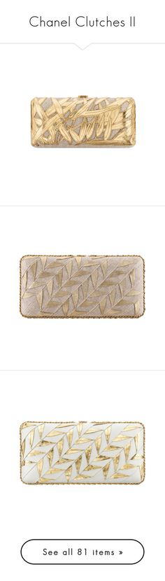 """""""Chanel Clutches II"""" by sakuragirl ❤ liked on Polyvore featuring jewelry, black gold jewelry, black and gold jewelry, brass jewelry, black gold jewellery, dark jewelry, chanel, bags, handbags and resin jewelry"""