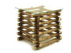 Handmade square pile-style side table of by FreeTreeStudio on Etsy | see more at https://www.etsy.com/shop/FreeTreeStudio