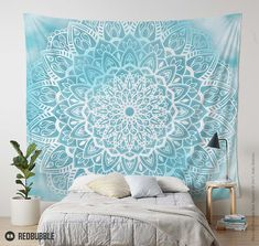 Blue Sky Mandala Wall Tapestry in Turquoise Blue and White