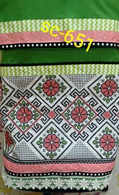parrot green with a lovely lace & x stitch panel