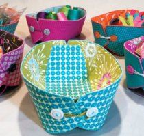 Storage 'boats' sewing pattern. Lie flat or stack when not being used.