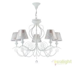 Candelabru elegant cu 5 brate, 2 in 1, Lucy MYARM042-05-W - Corpuri de iluminat, lustre, aplice Decor, Elegant, Lamp, Light, Lighting, Ceiling, Home Decor, Chandelier, Ceiling Lights