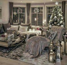 Silver living room decor living living room ideas together with ravishing photo black white and silver . Christmas Living Rooms, Cozy Living Rooms, Apartment Living, Interior Design Living Room, Living Room Furniture, Living Room Designs, Cozy Apartment, Christmas Interiors, Apartment Ideas