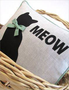 Cat's Meow Appliqued Pillow: Janome America | Sew4Home