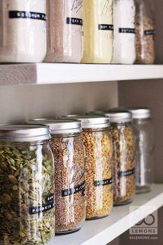 Ball jar kitchen storage #homegoals Pantry Organization, Pantry Ideas, Organisation, Mason Jar Crafts, Wine Bottle Crafts, Mason Jars, Mason Jar Storage, Hacks Diy, Space Saving