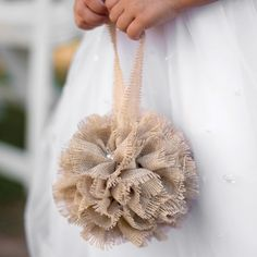 Burlap Kissing Ball, an alternative to the traditional flower girl basket. #Burlap Wedding #burlap #wedding