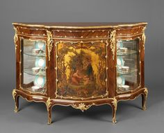 HENRI PICARD (1840-1890) A Fine Vernis Martin Gilt-Bronze Mounted Kingwood Serpentine Side Cabinet