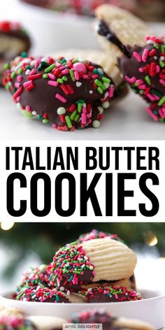 italian cookies Italian Butter Cookies with Jelly Filling - April GoLightly Winter Desserts, Great Desserts, Köstliche Desserts, Christmas Desserts, Delicious Desserts, Dessert Recipes, Italian Christmas Cookies, Delicious Cookies, Italian Butter Cookies