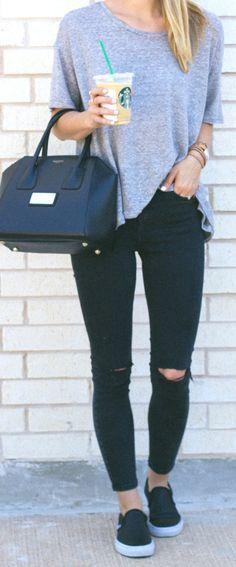 skinny jeans + vans / LivvyLand http://fancytemplestore.com #denimshortsoutif
