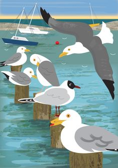 Inspired by the local wildlife on her doorstep, Four Marks artist Rachel Hudson captures the character with her bold and intriguing illustrations Beach Huts Art, Beach Art, Cute Animal Illustration, Illustration Art, Art Deco Design, Bird Art, Beautiful Birds, Vector Art, Illustrators