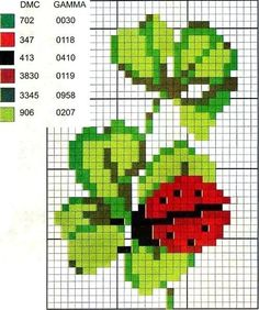 cross stitch chart good luck -- ladybug on clover Mini Cross Stitch, Cross Stitch Cards, Cross Stitch Animals, Cross Stitch Flowers, Cross Stitching, Cross Stitch Embroidery, Embroidery Patterns, Hand Embroidery, Cross Stitch Designs
