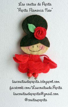 Flamencas de Fieltro by Las cositas de Pepita Spain, Crochet Hats, Sew, Diy Crafts, Christmas Ornaments, Holiday Decor, Fabrics, Jelly Beans, Flamenco