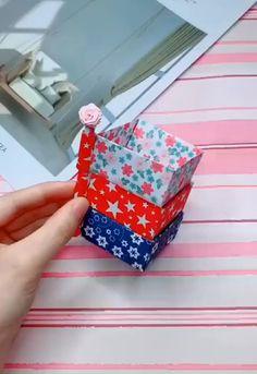 best way to DIY a 3 layer paper storage box Craft Paper Storage, Cool Paper Crafts, Paper Crafts Origami, Origami Art, Fun Crafts, Diy Storage Boxes, Diy Crafts Hacks, Diy Crafts For Gifts, Diy Arts And Crafts