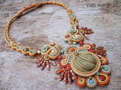Soutache necklace soutache rust gold burnt orange by CsillaPapp, $170.00