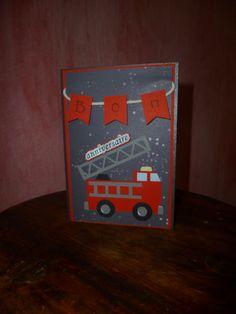 carte pompier pour anniversaire petit garçon