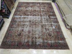 Beige vintage rug Turkish beige vintage rug overdye vintage carpet 108''x143 inches 3,63x2,74 cm oushak rug turkish oushak carpet by farcornersarts on Etsy