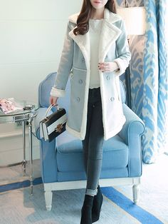 cca3378ec7a55 Shop Fur and Shearling Coats - Long Sleeve H-line Suede Casual Fur And  Shearling
