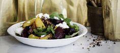 Punajuuri-linssisalaatti Vegetarian Options, Vegan Vegetarian, Raw Vegetables, Veggies, Clean Eating, Healthy Eating, Sprouts Salad, How To Eat Less, Vegan Dinners