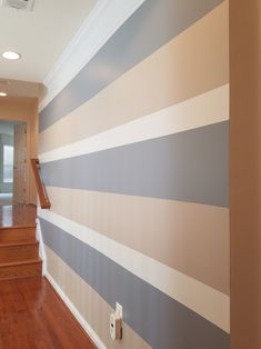 Striped Walls Bedroom, Striped Accent Walls, Accent Wall Bedroom, Bedroom Decor, Wall Painting Living Room, Diy Wall Painting, Kids Church Decor, Wall Color Combination, Stripped Wall