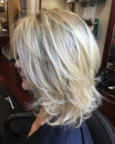 60 Best Variations of a Medium Shag Haircut for Your Distinctive Style Medium Layered Blonde Hairstyle - Unique Long Hairstyles Ideas Medium Hair Cuts, Short Hair Cuts, Medium Cut, Medium Long Hair, Pixie Cuts, Medium Brown, Shaggy Layered Haircut, Choppy Cut, Medium Shag Haircuts