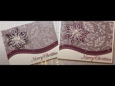 Curvy Christmas Card - YouTube Homemade Christmas Cards, Christmas Cards To Make, Homemade Cards, Christmas Crafts, Poinsettia Cards, Christmas Poinsettia, Stampin Up Christmas, Chrismas Cards, Xmas Cards
