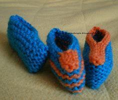 On me demande souvent des chaussons bébé pour débutantes qui débutent. Voici donc une paire très facile, tricotée au point mousse ( tricotez...